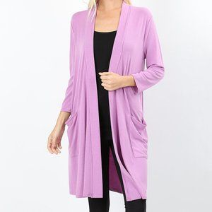 NEW🌺Mauve Slouchy Open Front Long Cardigan